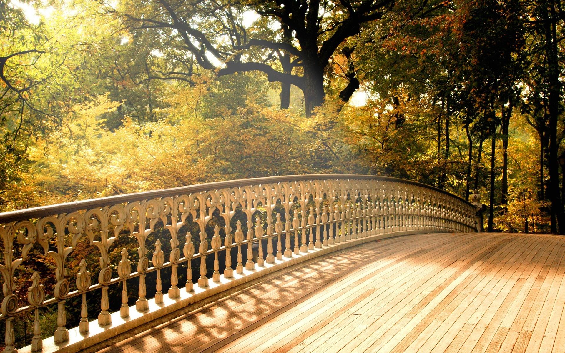 Осень мосты обои для рабочего стола