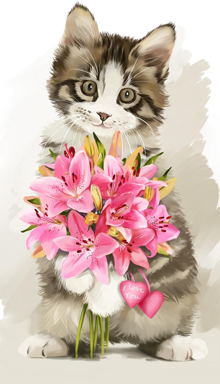 и красивые рисунки животные цветы