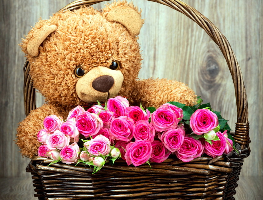 Картинки мишки с розами