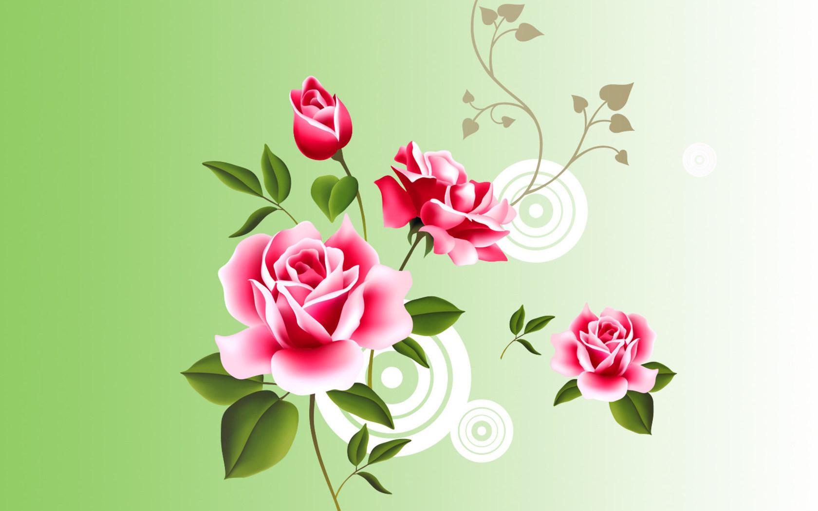 Нарисованные розы обои для рабочего стола