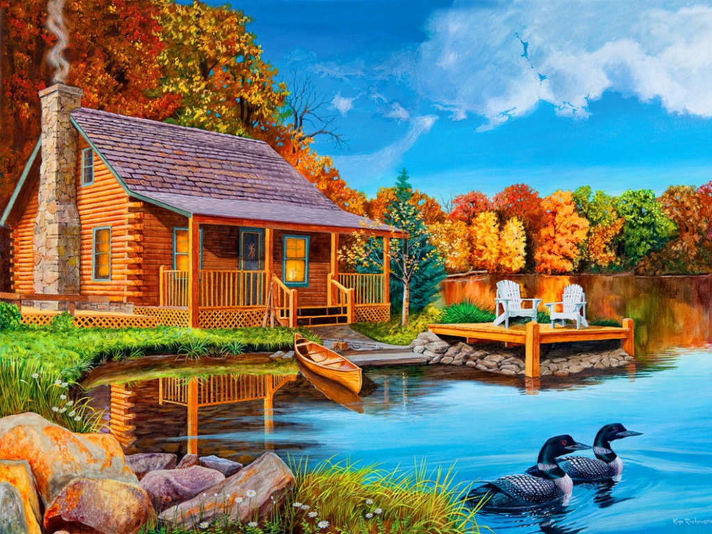 домик у озера фото