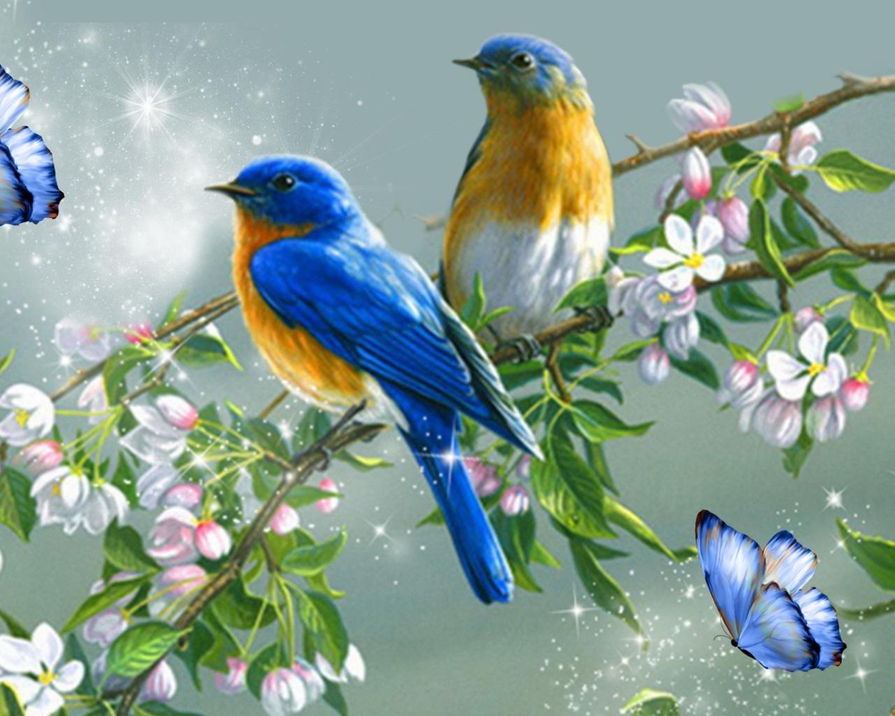 обои для рабочего стола птицы рисованные № 1489946 без смс
