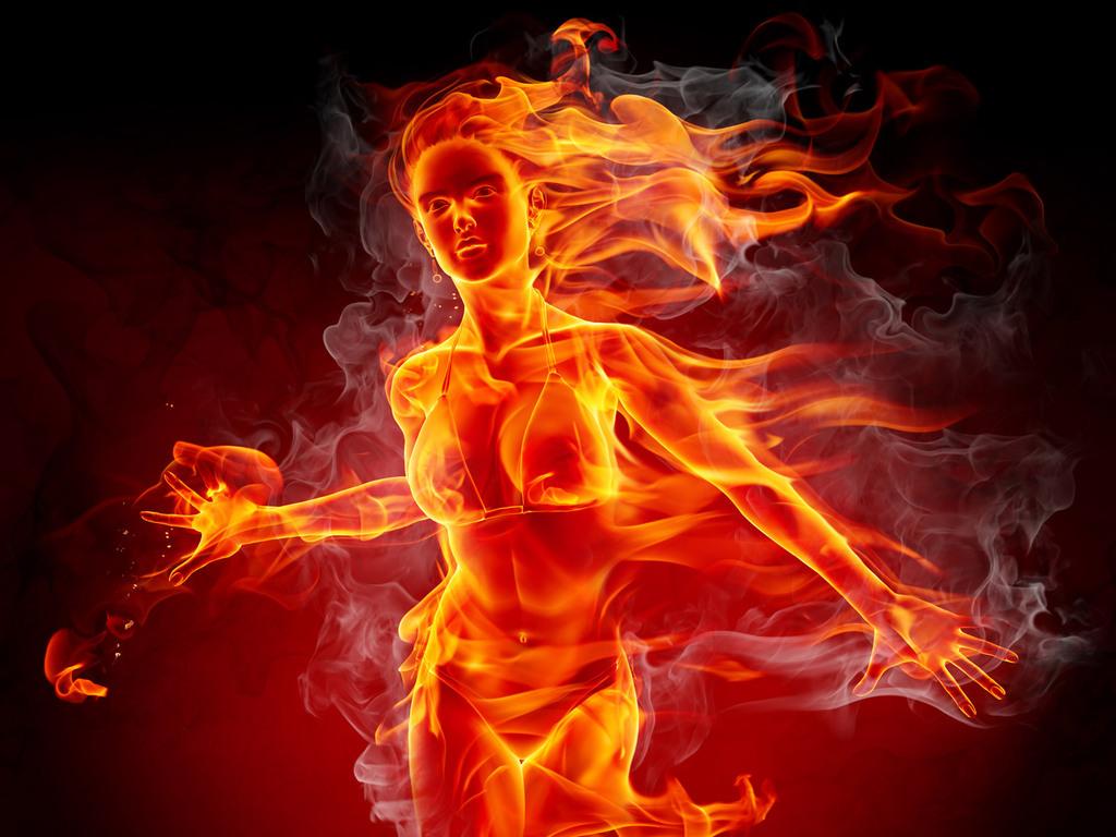 картинки огонь девушка
