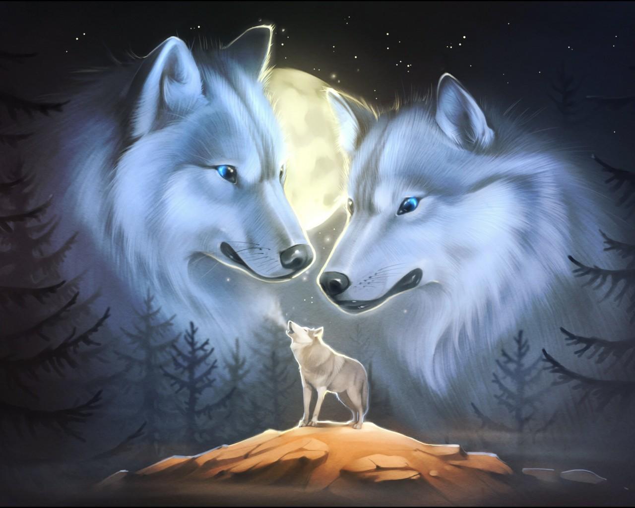 обои на рабочий стол волки нарисованная № 649052  скачать