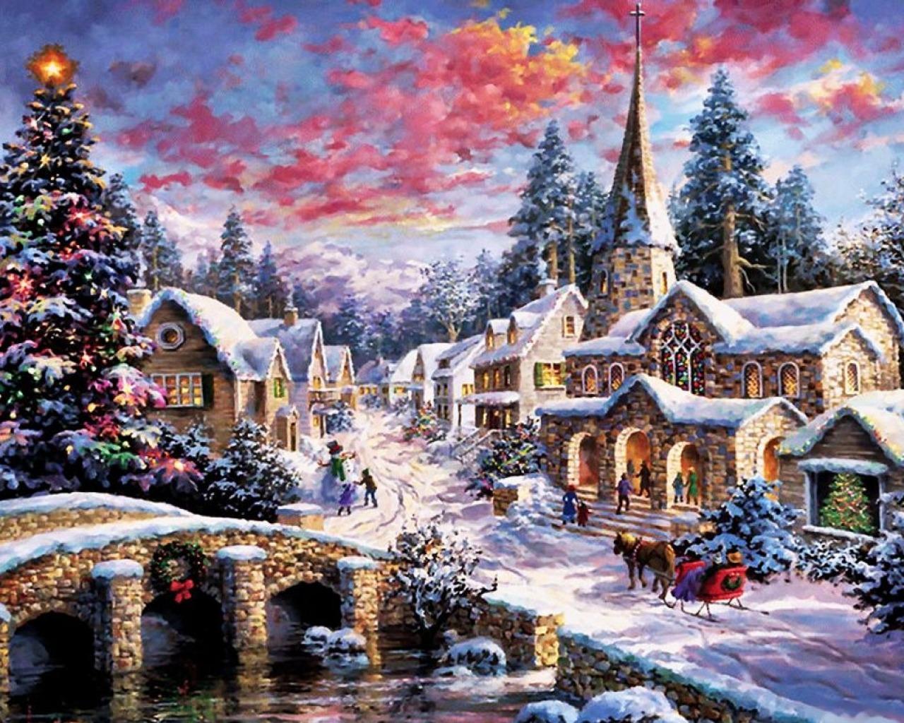 Новогодние пейзажи фото на рабочий стол